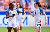 Houston, TX - April 9, 2017: The U.S. Women's national team go up 5-1 over Russia with Crystal Dunn contributing two goals in an international friendly match at BBVA Compass Stadium.