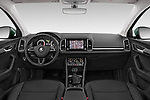 Stock photo of straight dashboard view of a 2018 Skoda Karoq Ambition 5 Door SUV
