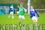 Kerry's Jessie O'Sullivan and Desmond League's Martin McSweeney in action at Mouthawk park, Tralee on Saturday.