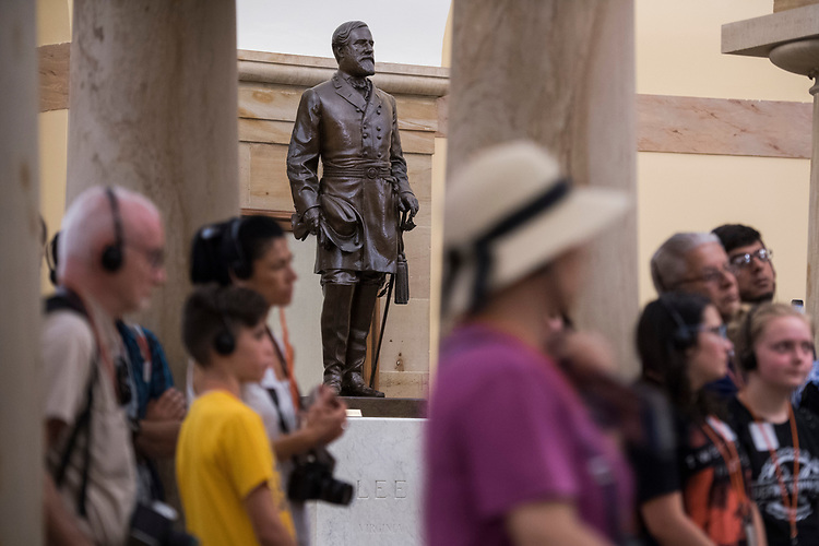 UNITED STATES - AUGUST 17: A statue of Confederate general Robert E. Lee is on display in the crypt of the Capitol on August 17, 2017. (Photo By Tom Williams/CQ Roll Call)