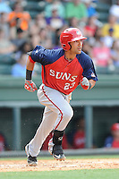 Third baseman Austin Davidson (23) of the Hagerstown Suns, in a game against the Greenville Drive on May 12, 2015, at Fluor Field at the West End in Greenville, South Carolina. Greenville won, 4-0. (Tom Priddy/Four Seam Images)