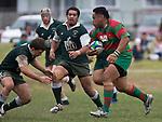Maka Tatafu lines up Mark Selwyn. Pat Walsh memorial pre-season rugby game between Manurewa & Waiuku played at Mountfort Park, Manurewa on 5th April, 2008. Waiuku led 12 - 8 at halftime, though Manurewa went on to win 30 - 23.