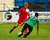 Lincoln City's Ryan Miles vies for possession with Gainsborough Trinity's Ellis Storey<br /> <br /> Photographer Andrew Vaughan/CameraSport<br /> <br /> Pre-Season Friendly - Gainsborough Trinity v Lincoln City - Saturday 15th July 2017 - The Gainsborough Martin &amp; Co Arena - Gainsborough<br /> <br /> World Copyright &copy; 2017 CameraSport. All rights reserved. 43 Linden Ave. Countesthorpe. Leicester. England. LE8 5PG - Tel: +44 (0) 116 277 4147 - admin@camerasport.com - www.camerasport.com