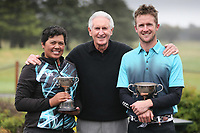 Chantelle Cassidy, Sir Bob Charles and Harry Bateman during Jennian Homes Charles Tour, John Jones Steel Harewood Open, Harewood Golf Course, Christchurch, New Zealand, Thursday 5 October 2017.  Photo: Martin Hunter/www.bwmedia.co.nz