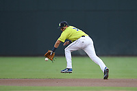 Second baseman Blake Tiberi (3) of the Columbia Fireflies in a game against the Greenville Drive on Friday, May 25, 2018, at Spirit Communications Park in Columbia, South Carolina. Columbia won, 3-1. (Tom Priddy/Four Seam Images)