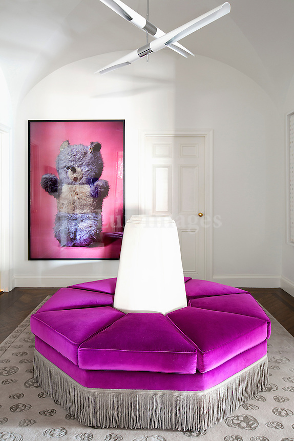 purple round sofa