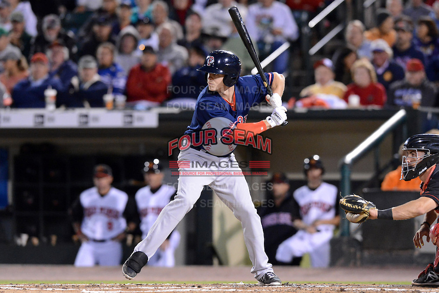 Pawtucket Red Sox second baseman Brock Holt (3) during an International League playoff game against the Rochester Red Wings on September 5, 2013 at Frontier Field in Rochester, New York.  Pawtucket defeated Rochester 7-2.  (Mike Janes/Four Seam Images)