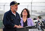 17 April 2009: Captain Richard Phillips gives a short speech of thanks after returning to the United States and an 18-hour journey home from Mombasa, Kenya, being re-united with his family as he arrives at the Burlington International Airport, in Burlington, Vermont, USA 17 April 2009. Captain Phillips was held hostage for five days by Somali pirates in an attempted hijacking of the Maersk cargo ship Alabama. United States Navy Seal sharpshooters on the USS Bainbridge killed three pirates to free Captain Phillips in his dramatic rescue.