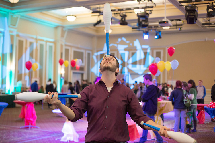 Tony Steinbach, of Columbus, Ohio, juggles at the Sibs Carnival in Baker on February 6, 2016. Photo by Emily Matthews