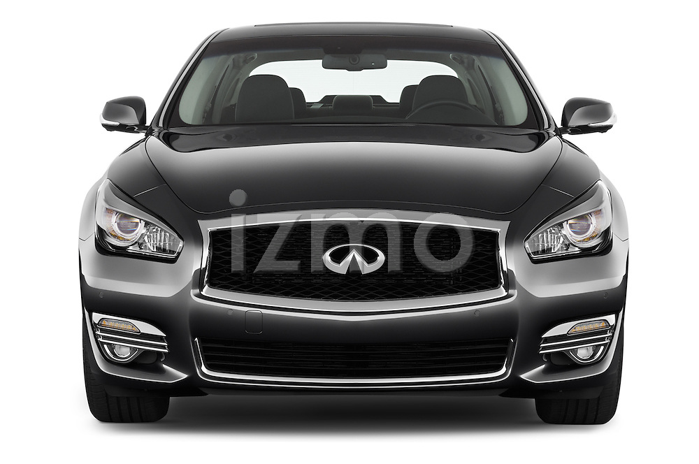 Car photography straight front view of a 2018 Infiniti Q70 Hybrid 4 Door Sedan Front View