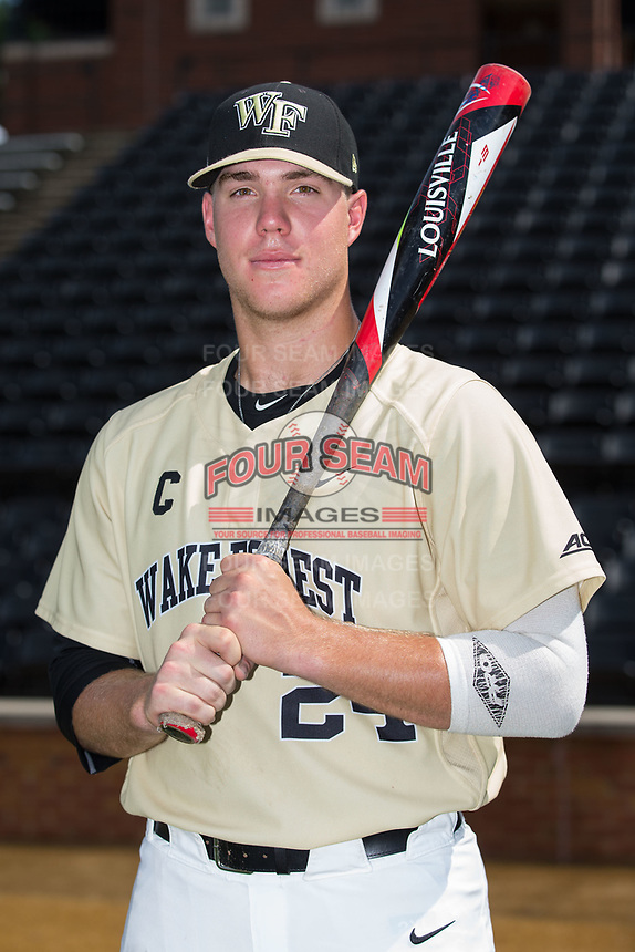 Wake Forest Demon Deacons first baseman Gavin Sheets (24) poses for a photo following the game against the Pittsburgh Panthers at David F. Couch Ballpark on May 20, 2017 in Winston-Salem, North Carolina. The Demon Deacons defeated the Panthers 14-4.  (Brian Westerholt/Four Seam Images)