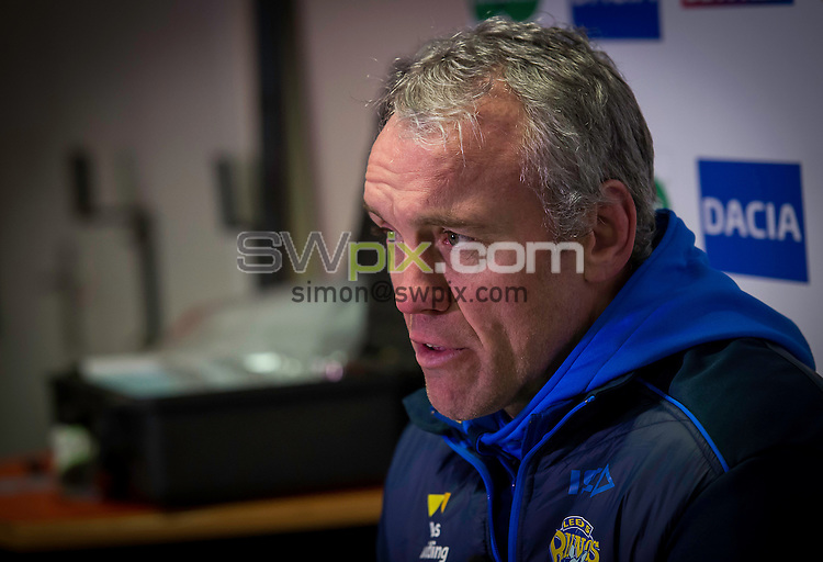 Picture by Allan McKenzie/SWpix.com - 02/03/2017 - Rugby League - Betfred Super League - Castleford Tigers v Leeds Rhinos - the Mend A Hose Jungle, Castleford, England - Leeds coach Brian McDermott reflects on his side's performance after their 66-10 loss to Castleford.