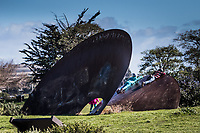 Hangin' Out -  young visitors to the MLK Regional Shoreline explore the art installation 'Duplex Cone', artist Roger Berry's sculpture at the Arrowhead Marsh near the Oakland International Airport.