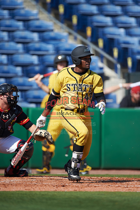 Alabama State Hornets Hunter Phillips (44) at bat during a game against the Maryland Terrapins on February 19, 2017 at Spectrum Field in Clearwater, Florida.  Maryland defeated Alabama State 9-7.  (Mike Janes/Four Seam Images)