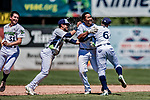 19 July 2018: Vermont Lake Monsters catcher, playing at first this game, Robert Mullen (center) celebrates with teammates after his his walk-off, game winning single in the bottom of the 9th inning to break a 1-1 ties with the Staten Island Yankees at Centennial Field in Burlington, Vermont. With 2 outs, and a full count, Mullen drove in Alfonso Rivas from third to give the Monsters their 2-1 NY Penn League win. Mandatory Credit: Ed Wolfstein Photo *** RAW (NEF) Image File Available ***
