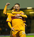 MOTHERWELL'S HENRIK OJAMAA CELEBRATES AFTER HE SCORES MOTHERWELL'S FIRST GOAL