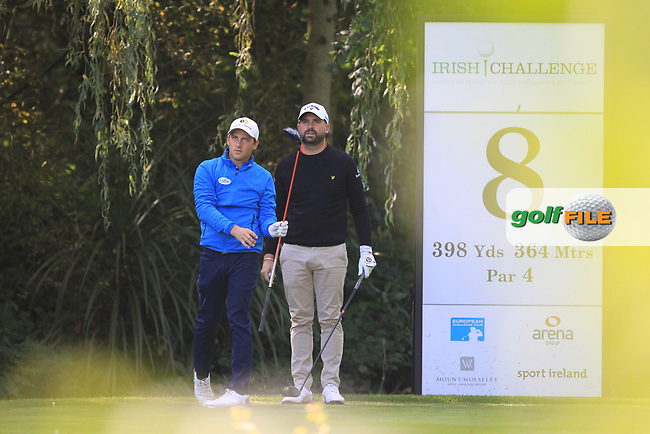 Lucas Nemecz (AUT) Matthew Baldwin (ENG) during round 1 of the Irish Challenge, Mount Wolseley Hotel and Golf Resort, Tullow, Co Carlow, Ireland 14/09/2017<br /> Picture: Fran Caffrey / Golffile<br /> <br /> All photo usage must carry mandatory copyright credit (&copy; Golffile | Fran Caffrey)