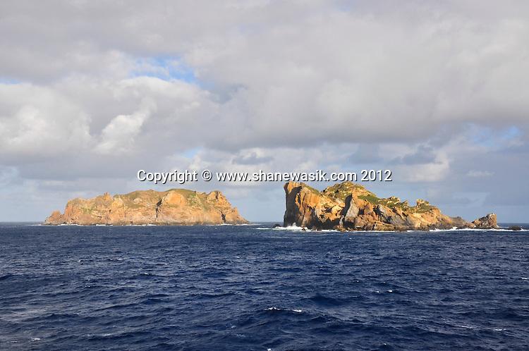 Rocks off the coast of Curtis and Cheesman Island, Kermadec Islands, New Zealand.