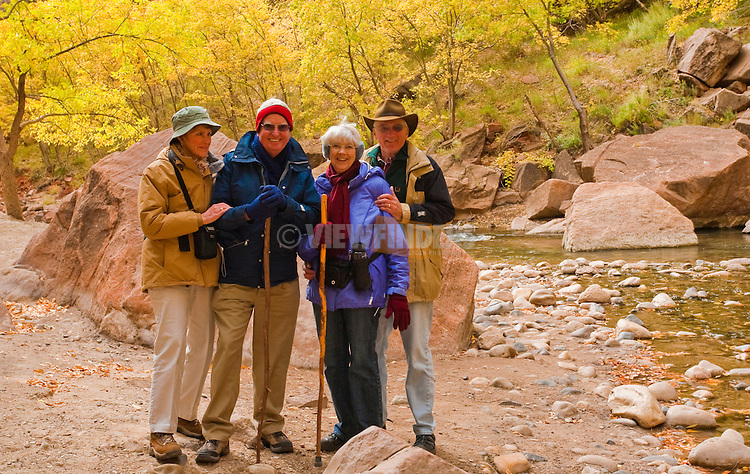 Hikers Travelling Through Zion National Park