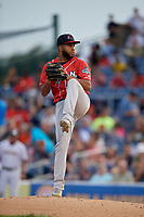 New Hampshire Fisher Cats pitcher Yennsy Diaz (20) during an Eastern League game against the Trenton Thunder on August 20, 2019 at Arm & Hammer Park in Trenton, New Jersey.  New Hampshire defeated Trenton 7-2.  (Mike Janes/Four Seam Images)