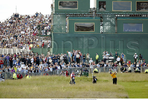 THOMAS LEVET (FRA) during the playoff, The Open Championship, Muirfield, Scotland, 020721. Photo:Glyn Kirk/Action Plus...Golf.2002.crowd crowds spectators spectator.grandstand