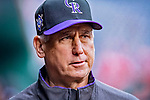 15 April 2018: Colorado Rockies Manager Bud Black awaits the start of play prior to a game against the Washington Nationals at Nationals Park in Washington, DC. The Rockies edged out the Nationals 6-5 to take the final game of their 4-game series. Mandatory Credit: Ed Wolfstein Photo *** RAW (NEF) Image File Available ***