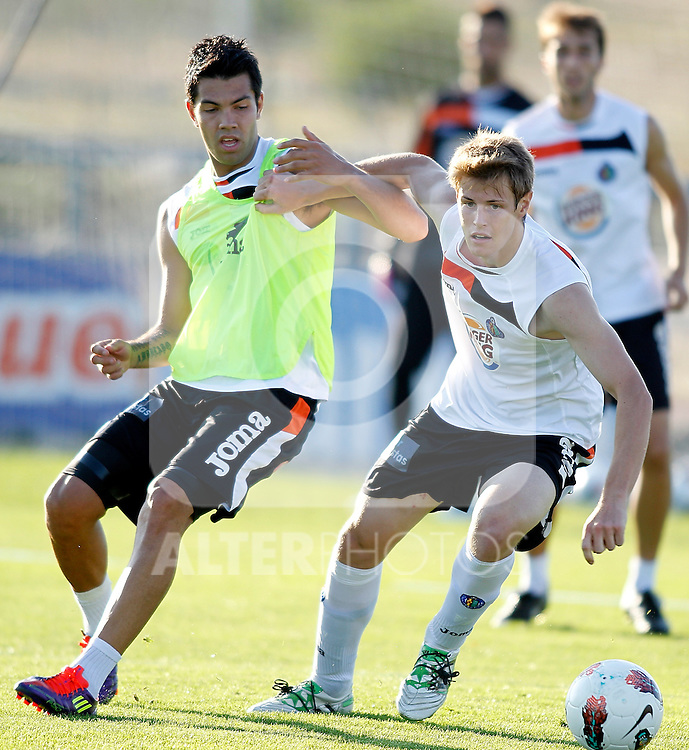 Getafe's Michelangelo Albertazzi and Miku during trainning. August 03, 2011. (ALTERPHOTOS/Alvaro Hernandez)