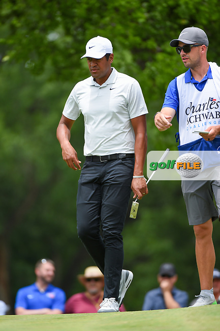 Tony Finau (USA) looks over his putt on 2 during round 3 of the 2019 Charles Schwab Challenge, Colonial Country Club, Ft. Worth, Texas,  USA. 5/25/2019.<br /> Picture: Golffile   Ken Murray<br /> <br /> All photo usage must carry mandatory copyright credit (© Golffile   Ken Murray)