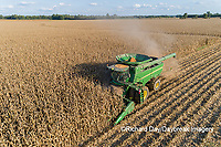 63801-12911 Harvesting corn in fall-aerial  Marion Co. IL