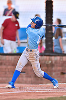 Burlington Royals shortstop Nicky Lopez (4) swings at a pitch during Game Two of the Appalachian League Championship series against the Johnson City Cardinals at TVA Credit Union Ballpark on September 7, 2016 in Johnson City, Tennessee. The Cardinals defeated the Royals 11-6 to win the series 2-0.. (Tony Farlow/Four Seam Images)