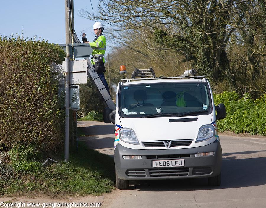 BT engineer working on phone lines