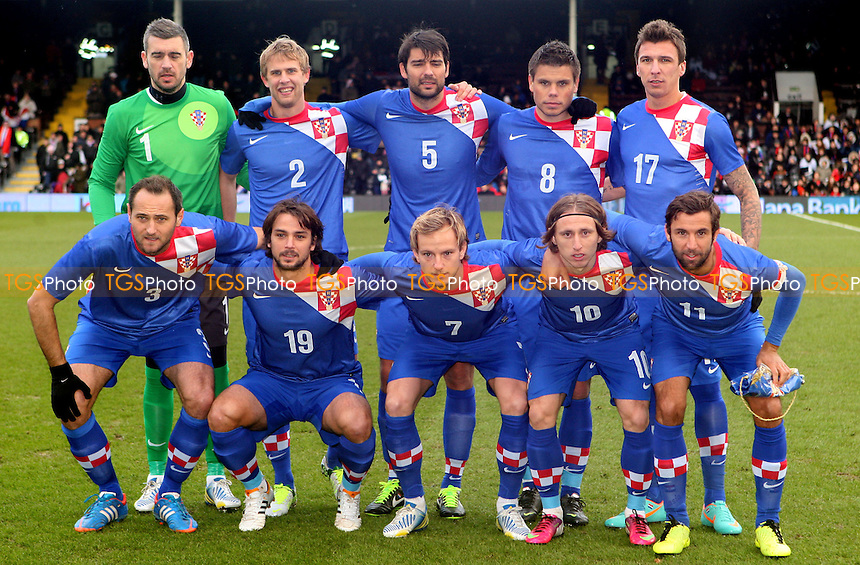 The Croatian team - Croatia vs Korea Republic, International Friendly at Craven Cottage, London - 06/02/13 - MANDATORY CREDIT: Rob Newell/TGSPHOTO - Self billing applies where appropriate - 0845 094 6026 - contact@tgsphoto.co.uk - NO UNPAID USE.