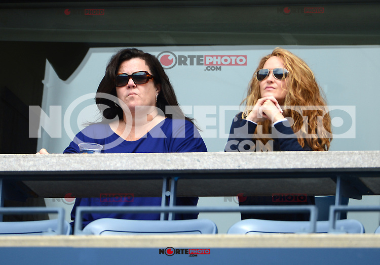 FLUSHING NY- SEPTEMBER 2: Rosie O'Donnell and Michelle Rounds watching Andy Roddick Vs Fabio Fognini on Arthur Ashe stadium at the USTA Billie Jean King National Tennis Center on September 2, 2012 in in Flushing Queens. Credit: mpi04/MediaPunch Inc. ***NO NY NEWSPAPERS*** /NortePhoto.com<br />