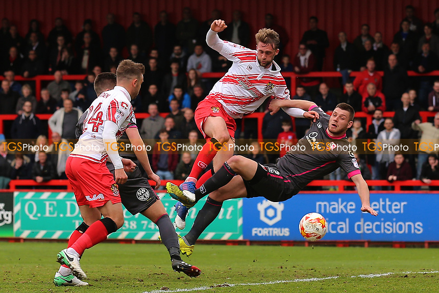 Fraser Franks of Stevenage goes close during Stevenage vs Morecambe, Sky Bet EFL League 2 Football at the Lamex Stadium on 14th April 2017
