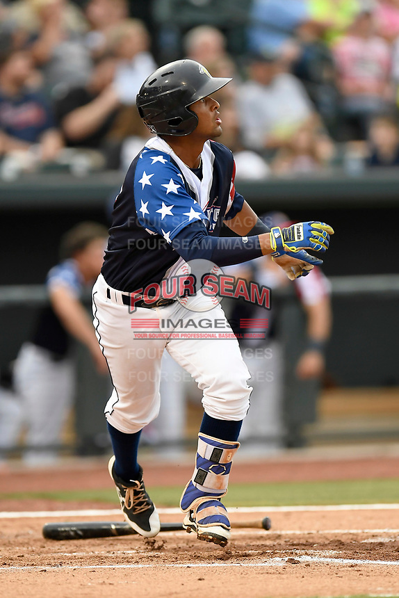 Second baseman Luis Carpio (18) of the Columbia Fireflies bats in a game against the Rome Braves on Monday, July 3, 2017, at Spirit Communications Park in Columbia, South Carolina. Columbia won, 3-2. (Tom Priddy/Four Seam Images)