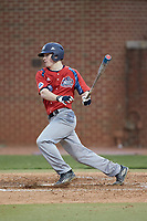 Matthew Cocciadiferro (8) of the NJIT Highlanders follows through on his swing against the High Point Panthers at Williard Stadium on February 18, 2017 in High Point, North Carolina. The Highlanders defeated the Panthers 4-2 in game two of a double-header. (Brian Westerholt/Four Seam Images)