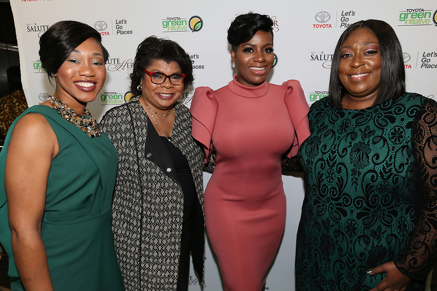 Jessica Taylor Toyota's Diversity & Inclusion Toyota Motor North America left, journalist April Ryan, Soul Solidarity Award Honoree Fantasia Barrino-Tyalor and host Loni Love attend the Salute Her Awards sponsored by Toyota and AARP in Charlotte.