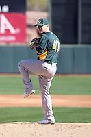 Andrew Bailey #40 of the Oakland Athletics participates in spring training workouts at the Athletics complex on February 16, 2011  in Phoenix, Arizona. .Photo by:  Bill Mitchell/Four Seam Images.