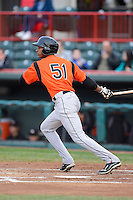 Bowie Baysox outfielder Henry Urrutia #51 during a game against the Erie Seawolves on April 23, 2013 at Jerry Uht Park in Erie, Pennsylvania.  Erie defeated Bowie 4-1.  (Mike Janes/Four Seam Images)