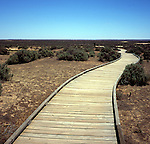 Wooden walkway Mungo National Park, New South Wales, Australia