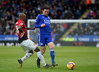 Manchester United's Ashley Young battles with Leicester City's Ben Chilwell<br /> <br /> Photographer Hannah Fountain/CameraSport<br /> <br /> The Premier League - Leicester City v Manchester United - Sunday 3rd February 2019 - King Power Stadium - Leicester<br /> <br /> World Copyright © 2019 CameraSport. All rights reserved. 43 Linden Ave. Countesthorpe. Leicester. England. LE8 5PG - Tel: +44 (0) 116 277 4147 - admin@camerasport.com - www.camerasport.com