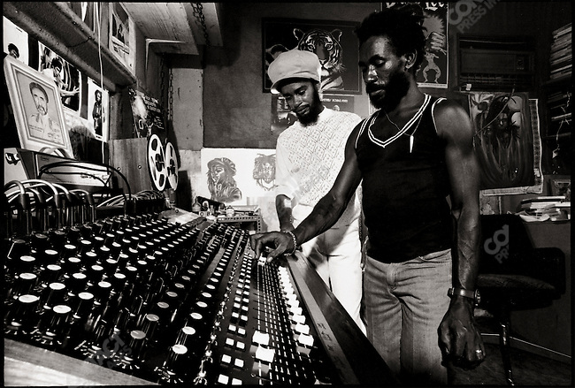 "Lee ""Scratch"" Perry at his studio with Max Romeo. Kingston, Jamaica. March 1976"