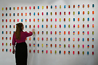 Mixed Media artist Miss Bugs unveils a new installation entitled Do No Harm at Jealous Gallery of resin popsicles highlighting social media sickness. The installation consists of 900 vibrant coloured resin 'popsicles', that in containing a range of pharmaceuticals, critique contemporary society's obsession and consumption of social media.  The exhibition runs Thursday 4 - Sunday 21 July 2019<br /> CAP/JOR<br /> ©JOR/Capital Pictures