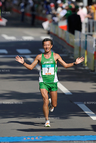 Chiharu Takada (JPN),AUGUST 28, 2011 - Marathon :Chiharu Takada finishes third in the men's race at the 2011 Hokkaido Marathon in Sapporo, Hokkaido, Japan. (Photo by AFLO)