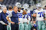 Dallas Cowboys head coach Jason Garrett in action during the pre-season game between the Miami Dolphins and the Dallas Cowboys at the AT & T stadium in Arlington, Texas.