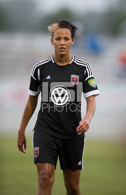 Lianne Sanderson (10) of the D.C. United Women waits for the ball to be thrown into play during the game at the Maryland SoccerPlex in Boyds, Maryland.  The D.C. United Women defeated the Virginia Beach Piranhas, 3-0, to advance to the W-League Eastern Conference Championship.