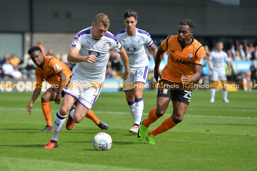 Jack Stacey of Luton Town and Jean-Louis Akpa Akpro of Barnet during Barnet vs Luton Town, Sky Bet EFL League 2 Football at the Hive Stadium on 12th August 2017
