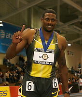 David Oliver winner of the men's  60m hurdles in a time of 7.47sec. at the AT&T USA Indoor Track & Field Championship on Sunday, February 24, 2008. Photo by Errol Anderson,The Sporting Image.