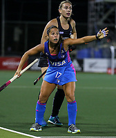 Rocio Sanchez of Argentina appeals to the referee during the World Hockey League quarter final match between Argentina and New Zealand. North Harbour Hockey Stadium, Auckland, New Zealand. Wednesday 22 November 2017. Photo:Simon Watts / www.bwmedia.co.nz