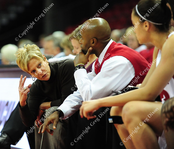 UW women's basketball assistant coach Kathi Bennett. The Badger women's basketball team tops UW-River Falls 71-38 in exhibition play on Sunday, 11/9/08, at the Kohl Center in Madison